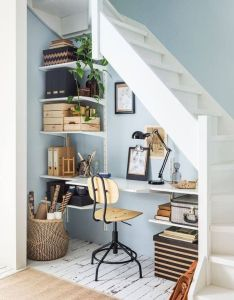 Workspace under the stairs with blue walls by ikea home interior decoration secrets also pin jessie simpson on office pinterest small space rh