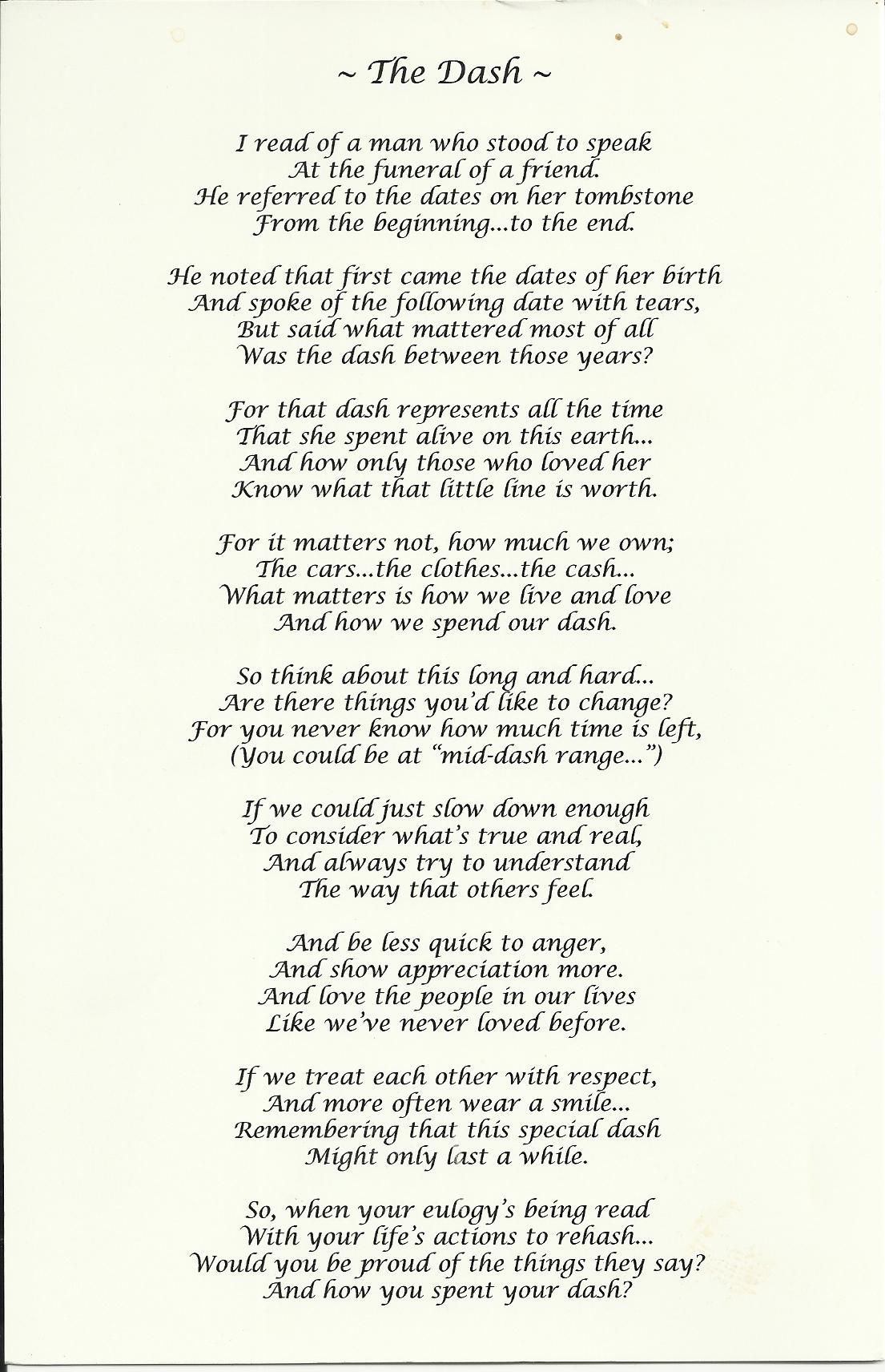 graphic about The Dash Poem Printable named Excellent 25 Funeral Costume Options Upon Pinterest Extended Black - EpicGaming