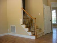 stairway with rail,4 open return treads on left side, oak ...