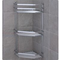 Chrome satina hanging rectangle corner shower caddy ...