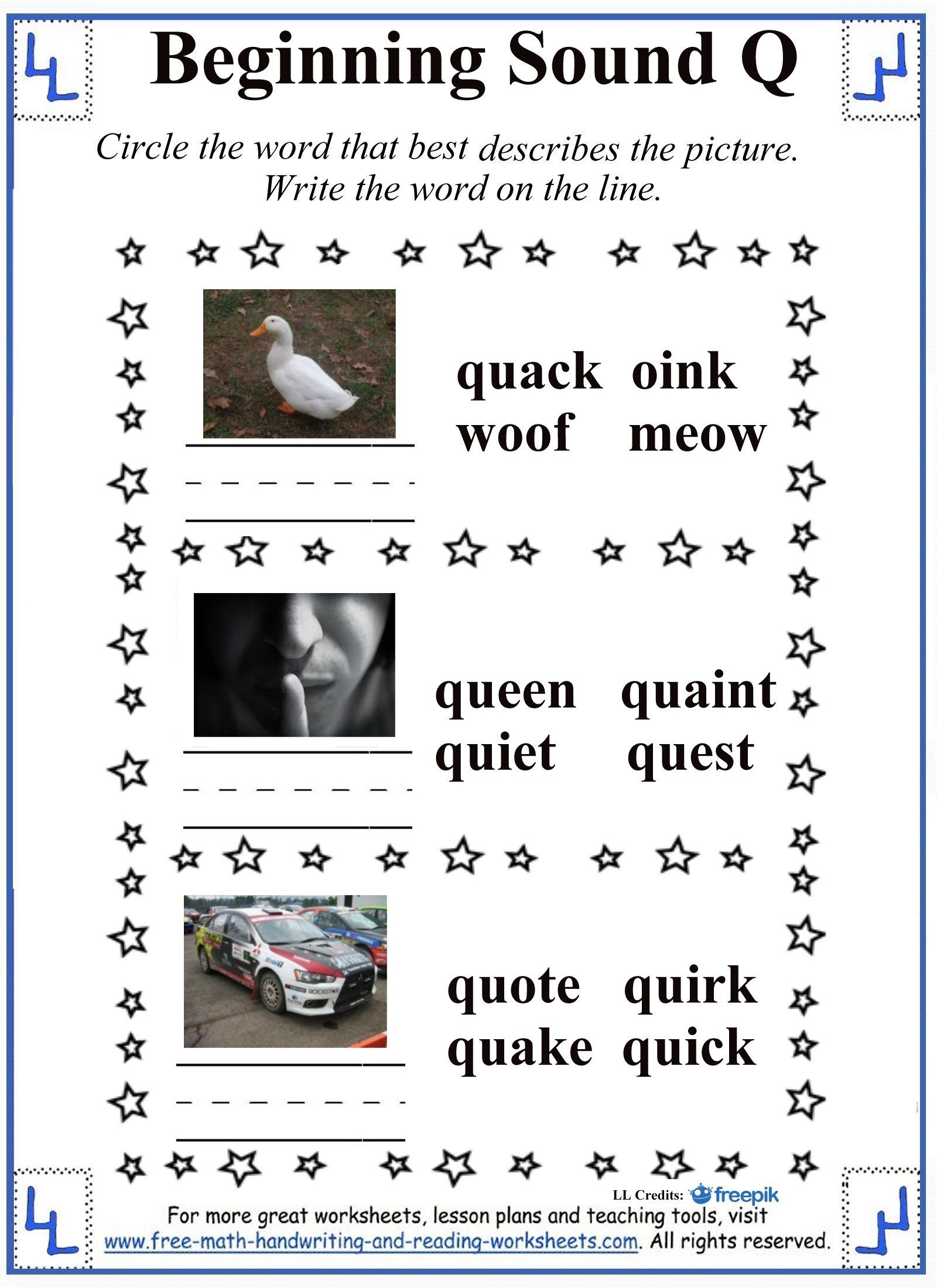 Letter Q Beginning Sound Worksheet