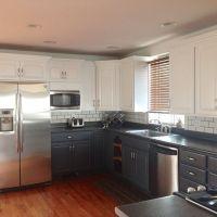 upper white & lower gray kitchen cabinets | Kitchen ...