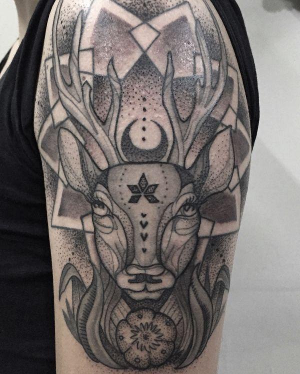 Abstract Deer Tattoo. Dot Work. #allblack #blackandgrey #tattoo #tatuaje #inked #symmetrical #