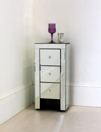 Cute Small Bedside Tables Ideas : Narrow Mirrored Bedside