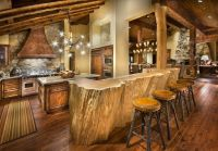 rustic-cabin-kitchen-design-with-log-wood-bar-table-and ...
