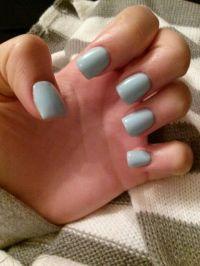 Baby blue gel acrylics. Short nails. Winter nails. Simple ...