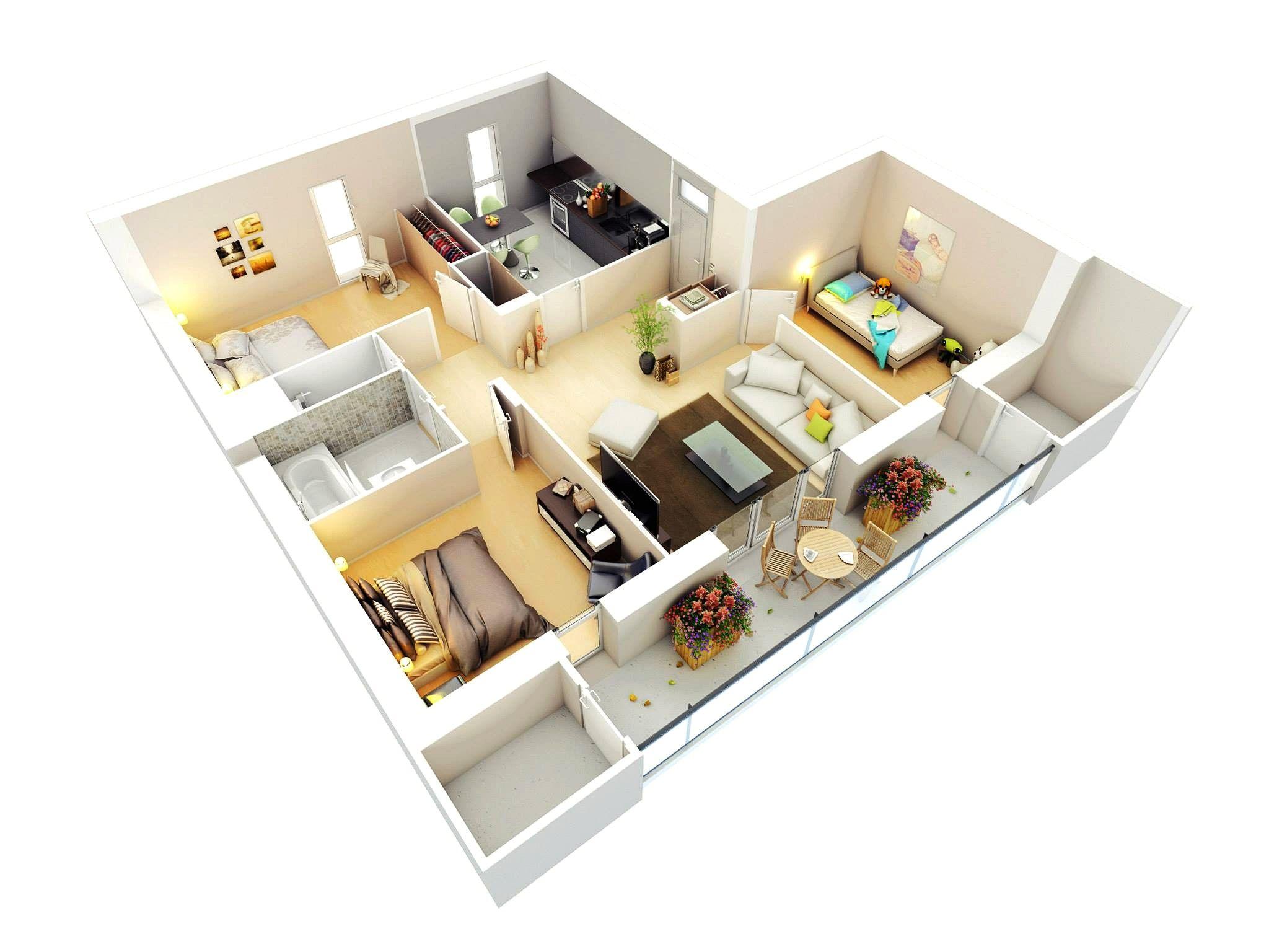 Denah Rumah Sederhana 3 Kamar Tidur Type 36 3d 3dimensi  Desain rumah minimalist  Pinterest