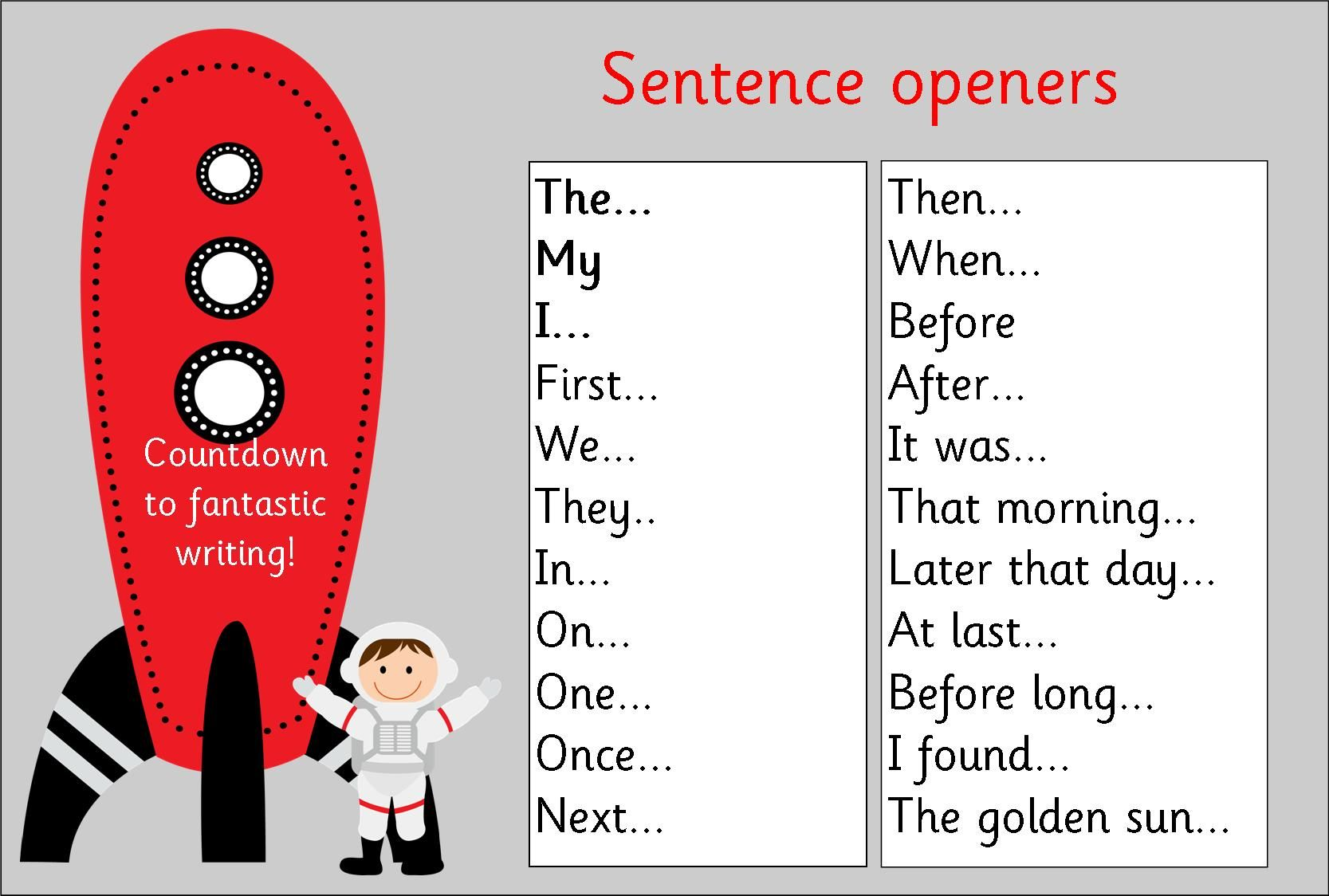 Vcop Ks1 Sentence Openers Mat