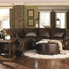 Chocolate Brown Leather Sectional Sofa With 2 Storage Ottomans Sealy And Loveseat W Round Ottoman Home