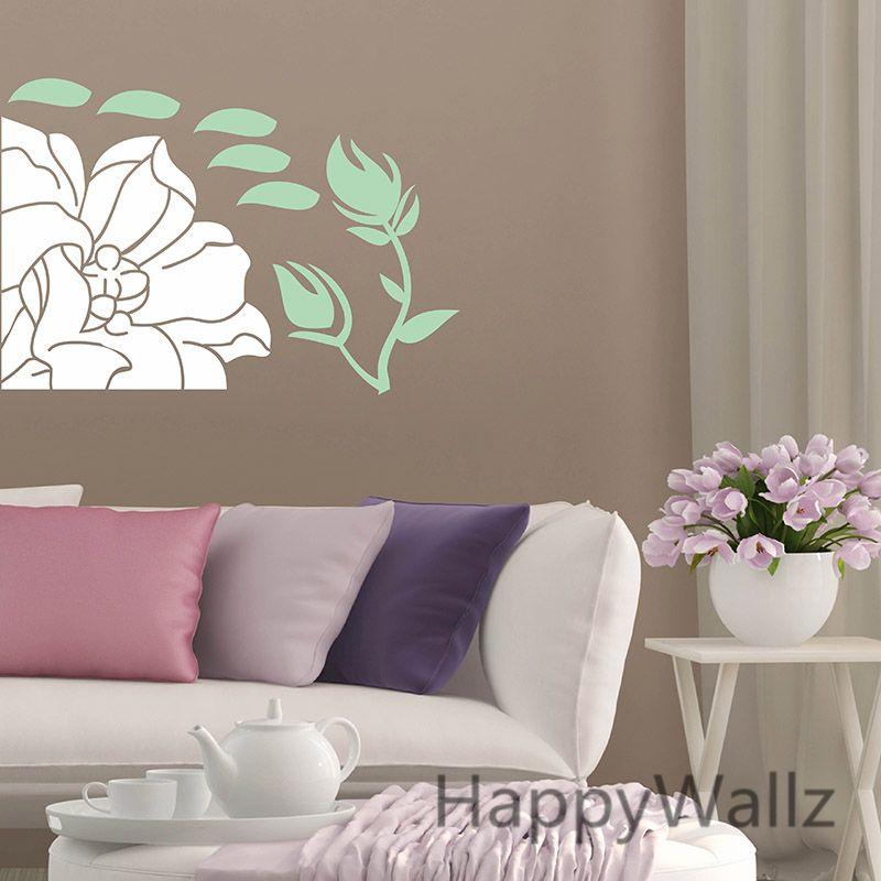 Flower wall sticker  beautiful decal diy removable decors easy art also rh pinterest