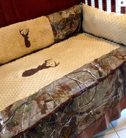 Brown buck Realtree AP camo hunting baby bedding set for