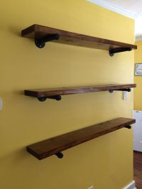 Shelves made with regular old 2x6, stained, and sat on gas ...