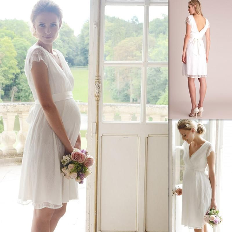Maternity Wedding Gowns White Lace Cap Sleeves Vneck Knee