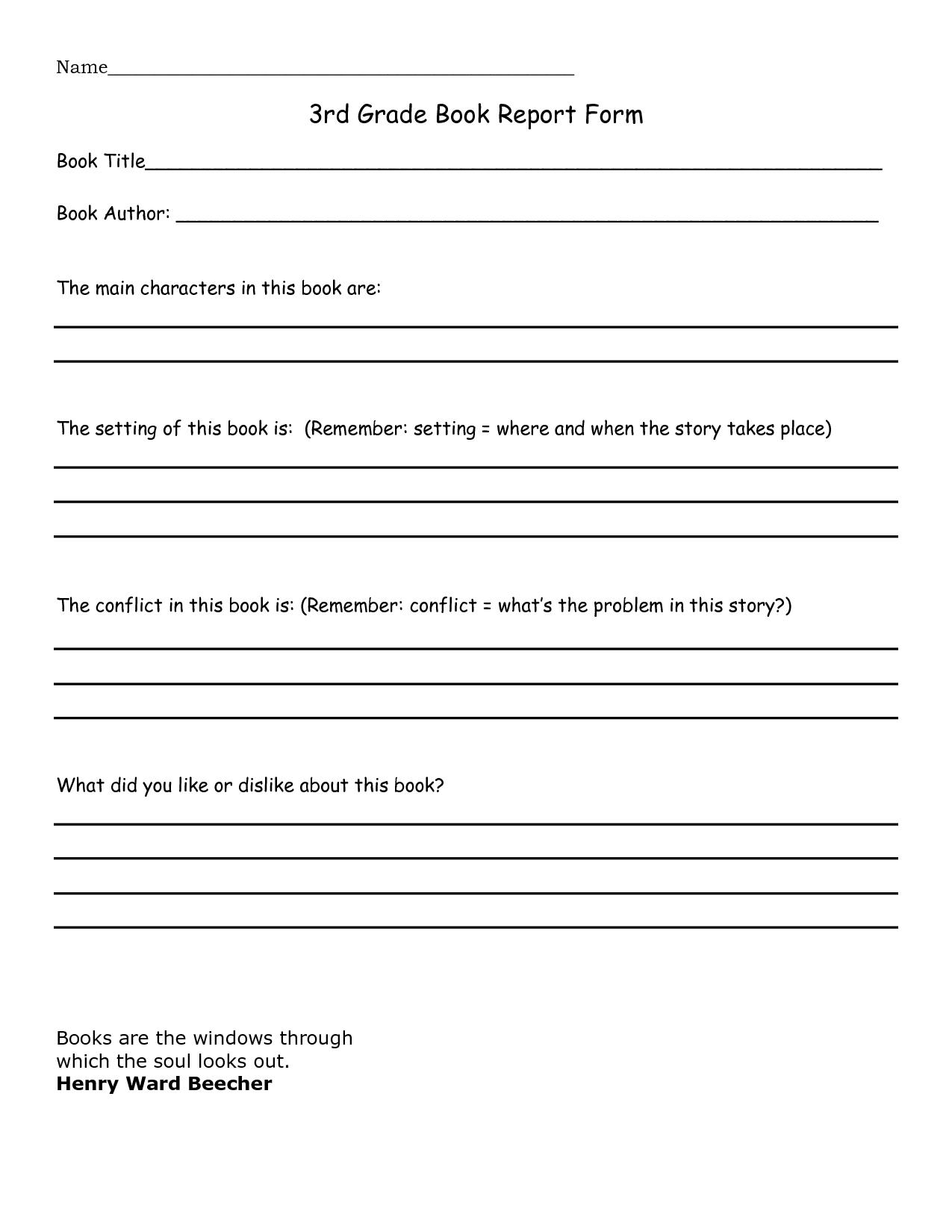 3rd Grade Book Report Sample