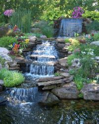 Exterior, Pretty Backyard Waterfall Completing The Ponds ...