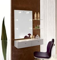 wall mounted small dressing table with mirror lights
