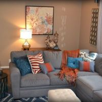 Gray Orange Blue Family Room | Design | Pinterest | Blue ...