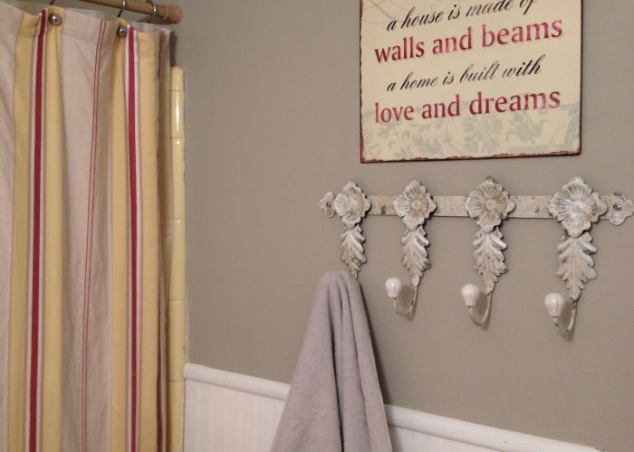 Gray and yellow bathroom with red accents also pinterest