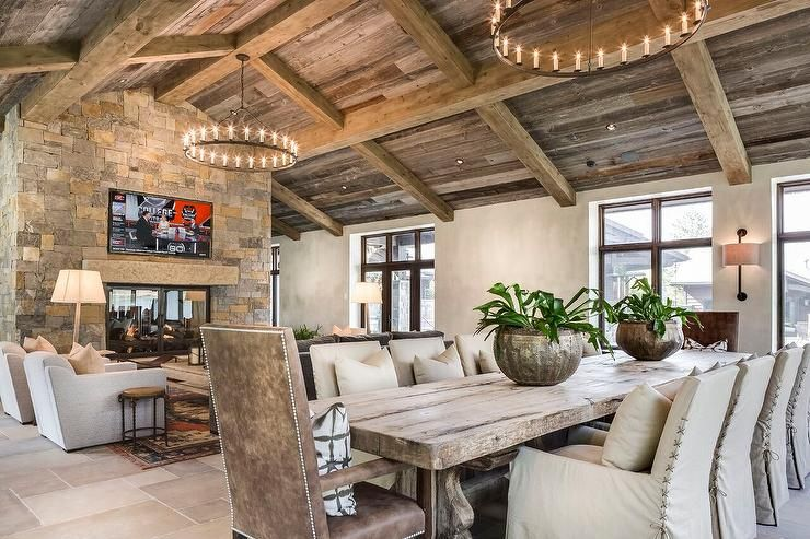 Country style living room with double sided fireplace