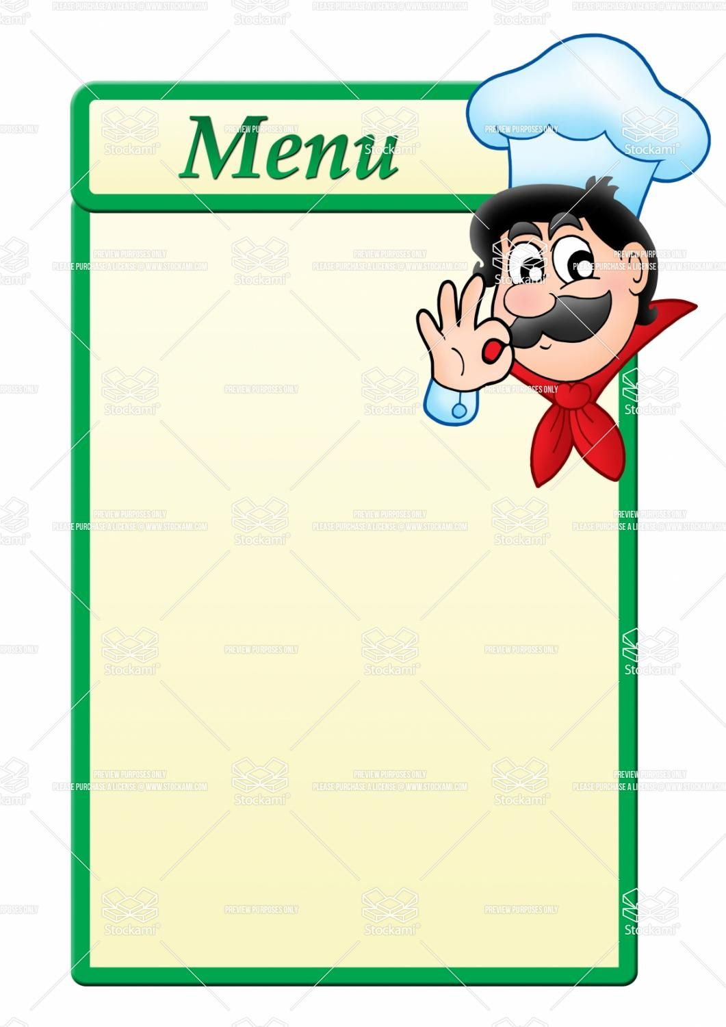 Stock Image Menu Template With Cartoon Chef 1 061