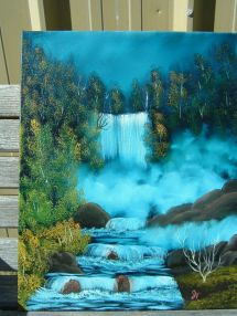 Waterfall Paintings Bob Ross Cabin - Year of Clean Water