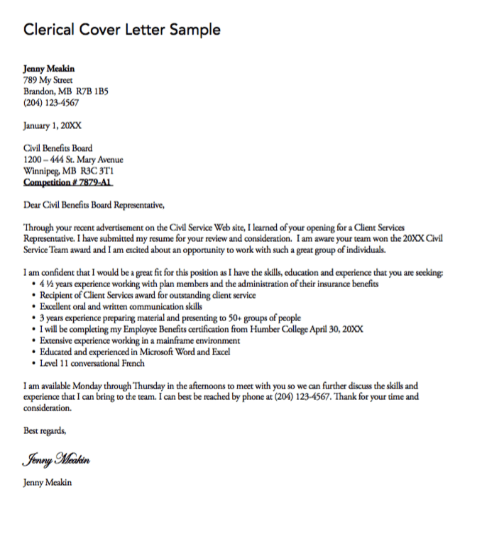 clerical cover letter sample  httpexampleresumecvorgclericalcoverlettersample