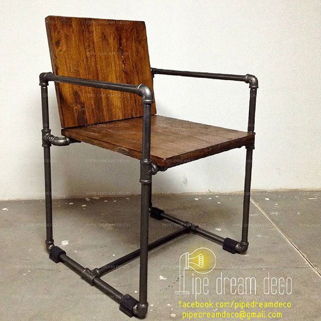 Industrial chair  wood and pipes designed  created by