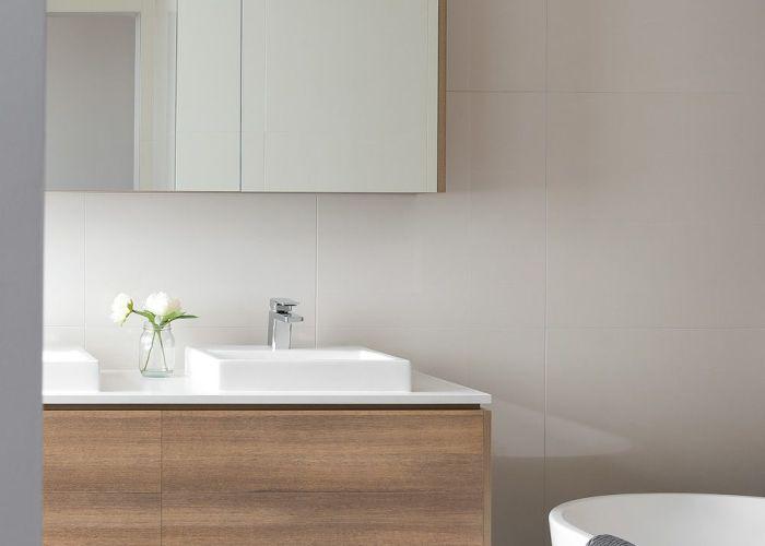 Sleek looking modern bathroom vanity in polytec ravine sepia oak http www also