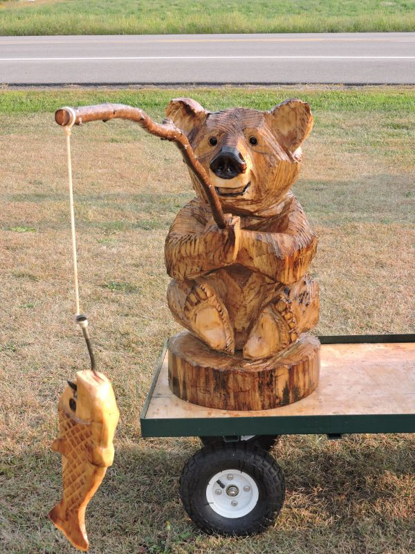 Fish Bear Fishing Chainsaw Carving Lawn