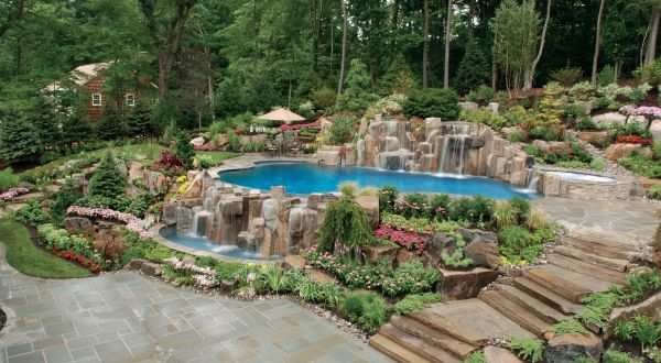 extravagant pool with natural design