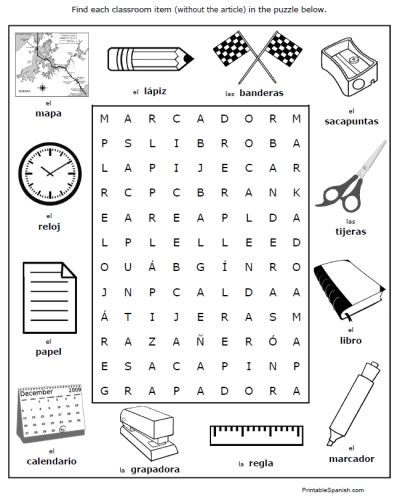 spanish classroom objects worksheets puzzles vocabulary