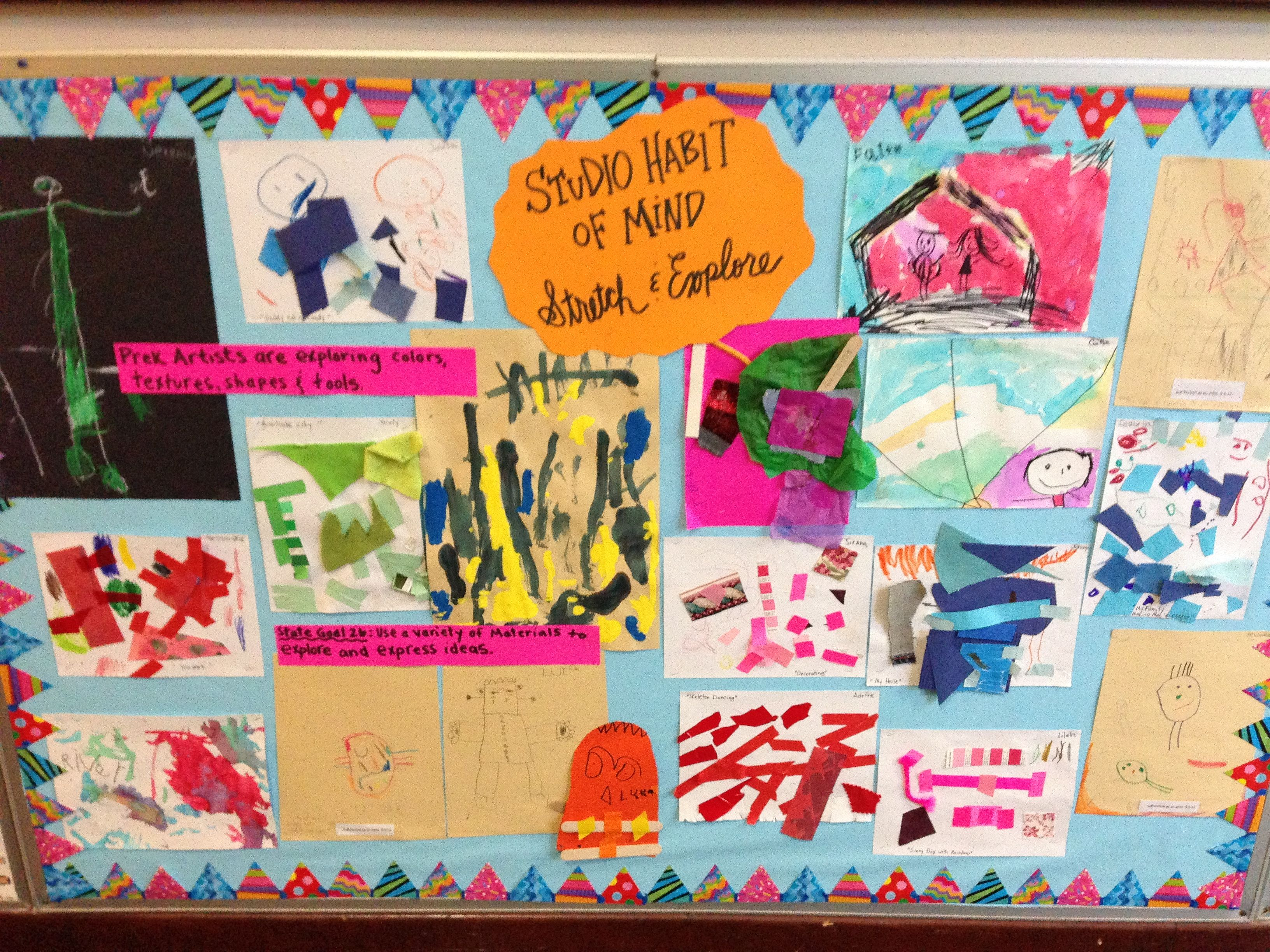 Bulletin Board Highlighting Studio Habit Of Mind Stretch Amp Explore Work Is From My 3 And 4