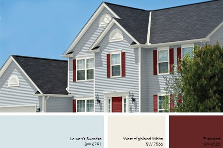Red Shutters And White Trim Are A Classic Colonial Look And We