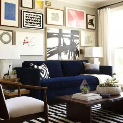 Navy Blue Striped Sofa Fixing A Bed Nice Living Room With Moderm Elegance Design Ideas