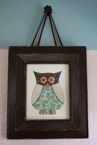 scrapbook paper framed owl - playroom idea for cheap wall ...