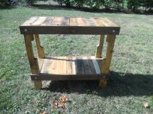 Reclaimed Pallet Wood Bar Side Table Kitchen Island