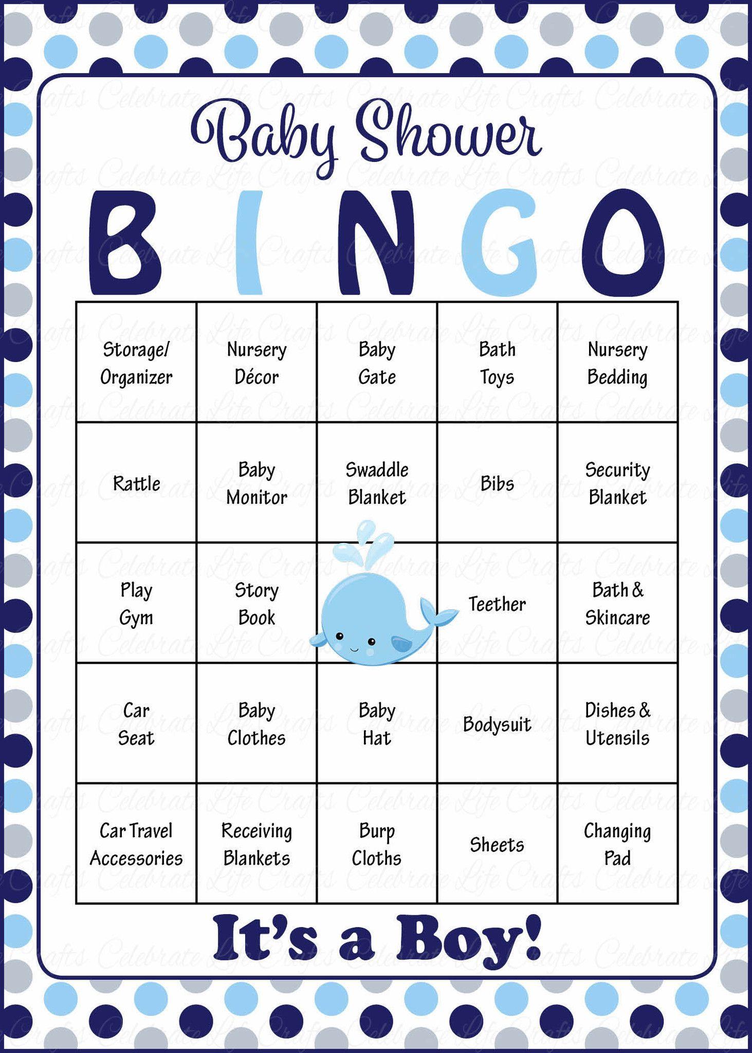Whale Baby Bingo Cards