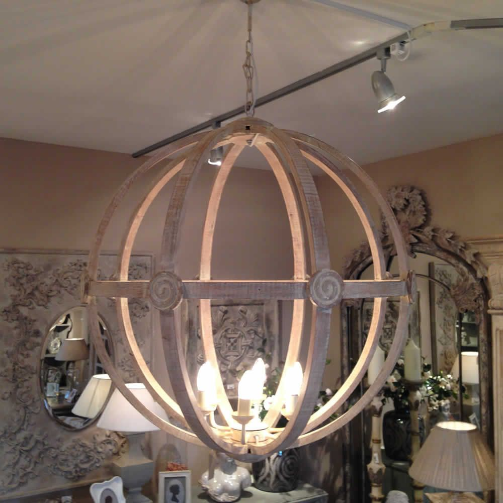 Extra Large Round Wooden Orb Chandelier stunning rustic