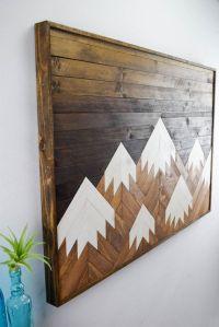Wood Wall Art Modern Mountain Range Wood door ...