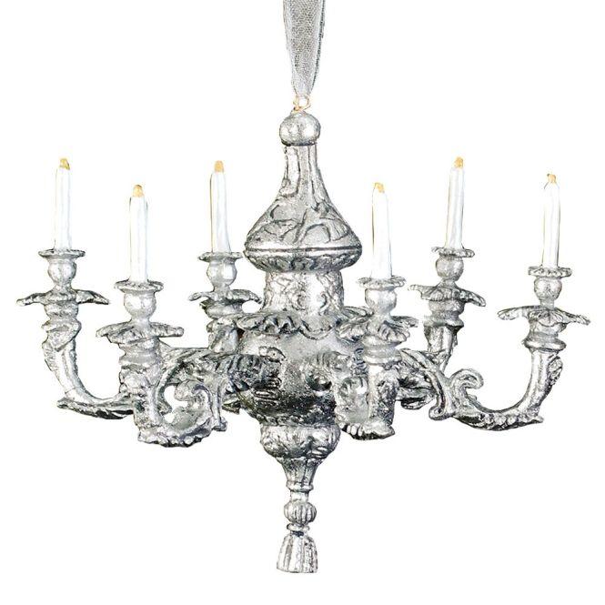 Silver Rococo Chandelier Christmas Ornament