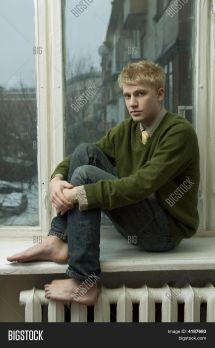 Bare Feet Barefoot Blonde Blue Jeans Boy Cardigan