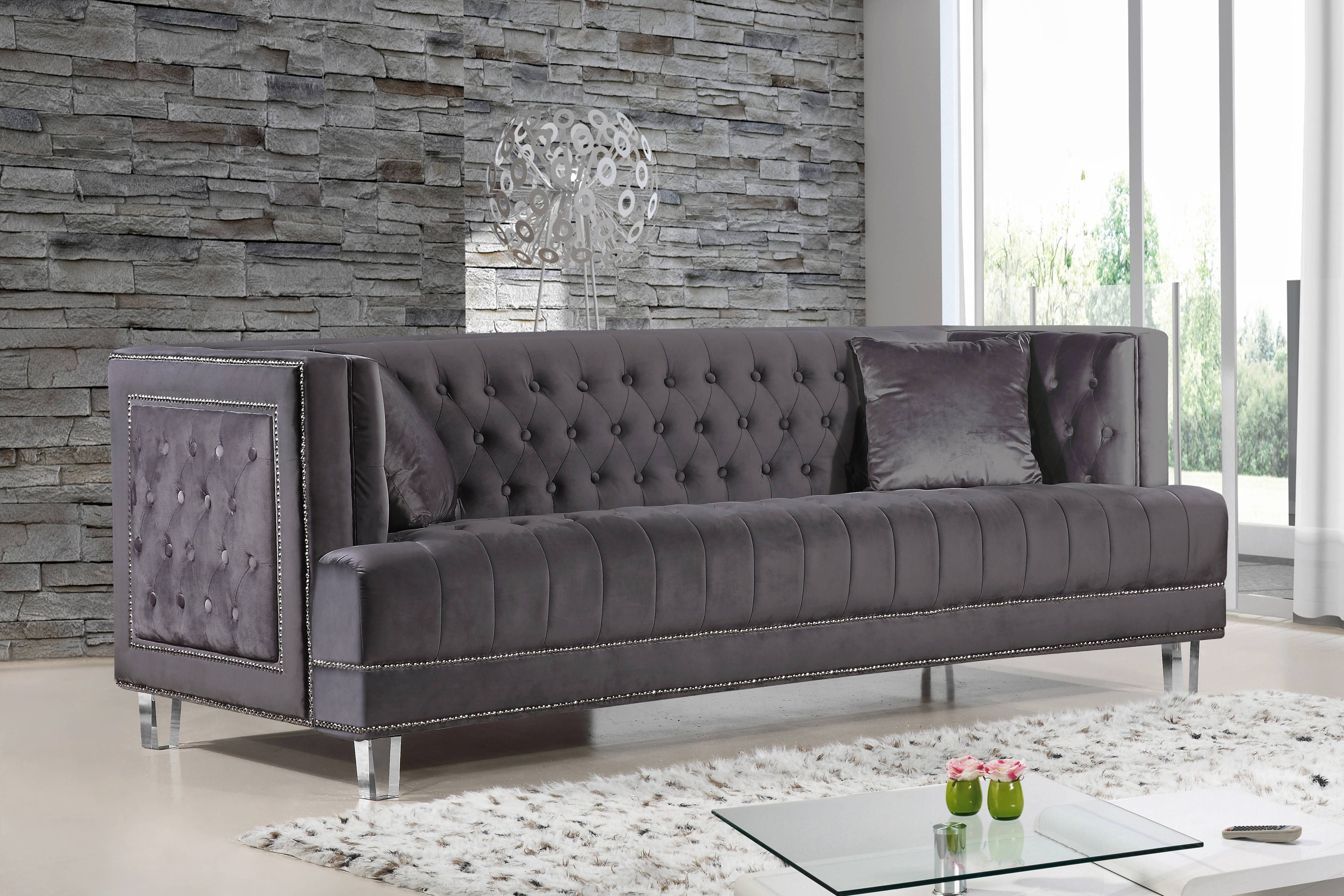 grey sofa with silver nailheads what size is a queen bed lucas velvet button tufted