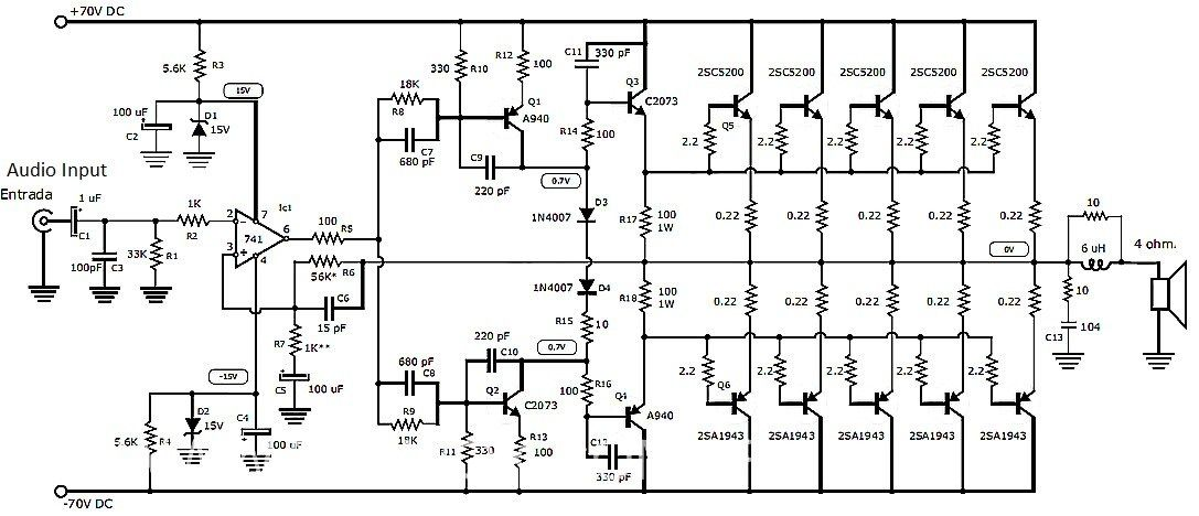 This is the circuit design of 1000W stereo audio amplifier