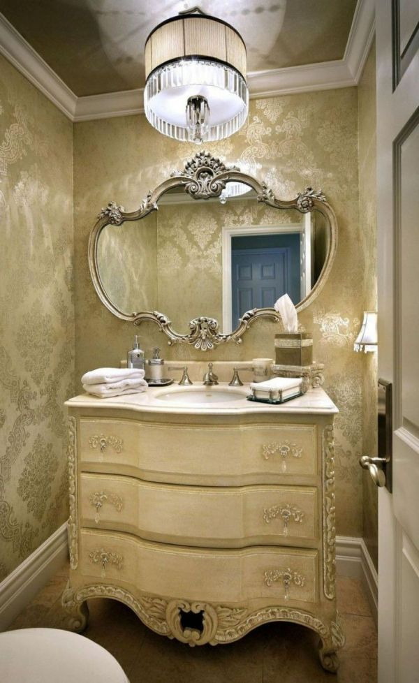 Bathroom. Luxury Stylish Powder Rooms Vanity Decoration