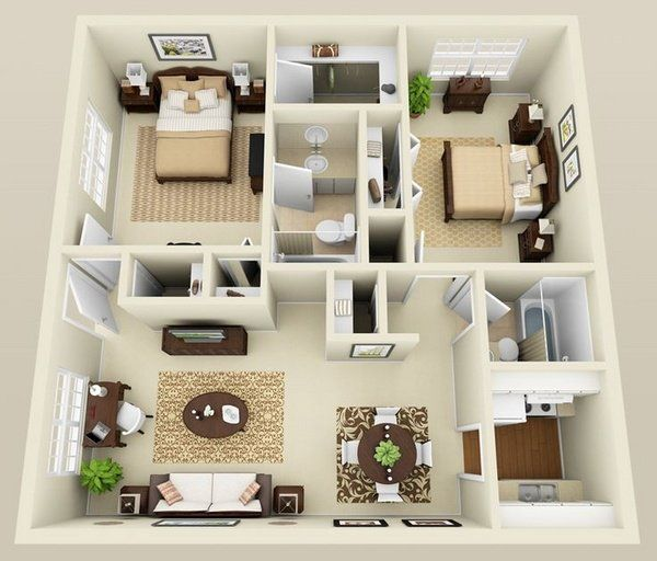 Small Home Plans Design Two Bedroom Apartment Design Ideas 3D