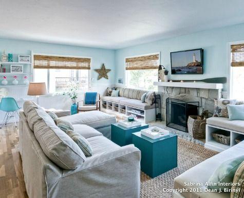 12 Small Coastal Beach Theme Living Room Ideas with Great