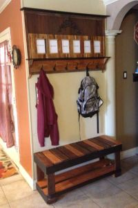 Pallet coat rack and bench