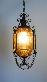 Gothic Lantern / Amber Art Glass and Wrought Iron Swag ...