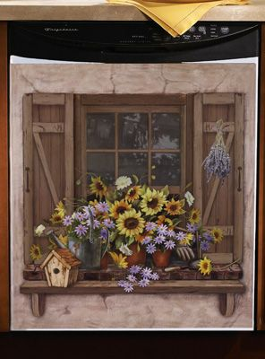 fall kitchen curtains cabinets brooklyn sunflowers window scene dishwasher cover $14.99 ...