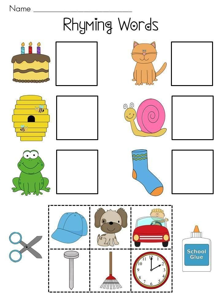 Free Printable Cut And Paste Rhyming Worksheets For